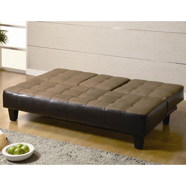 Microfiber Sofa Beds: Tan Microfiber/ Brown Vinyl Sofa Bed Coaster Furniture