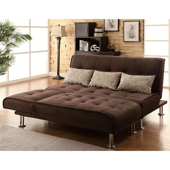 Brown Microfiber Sofa Bed Set
