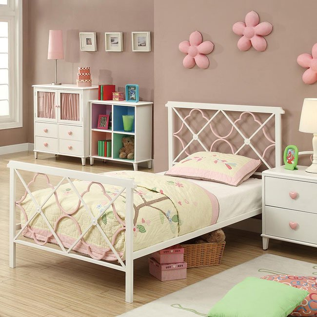 Juliette White and Pink Youth Bed