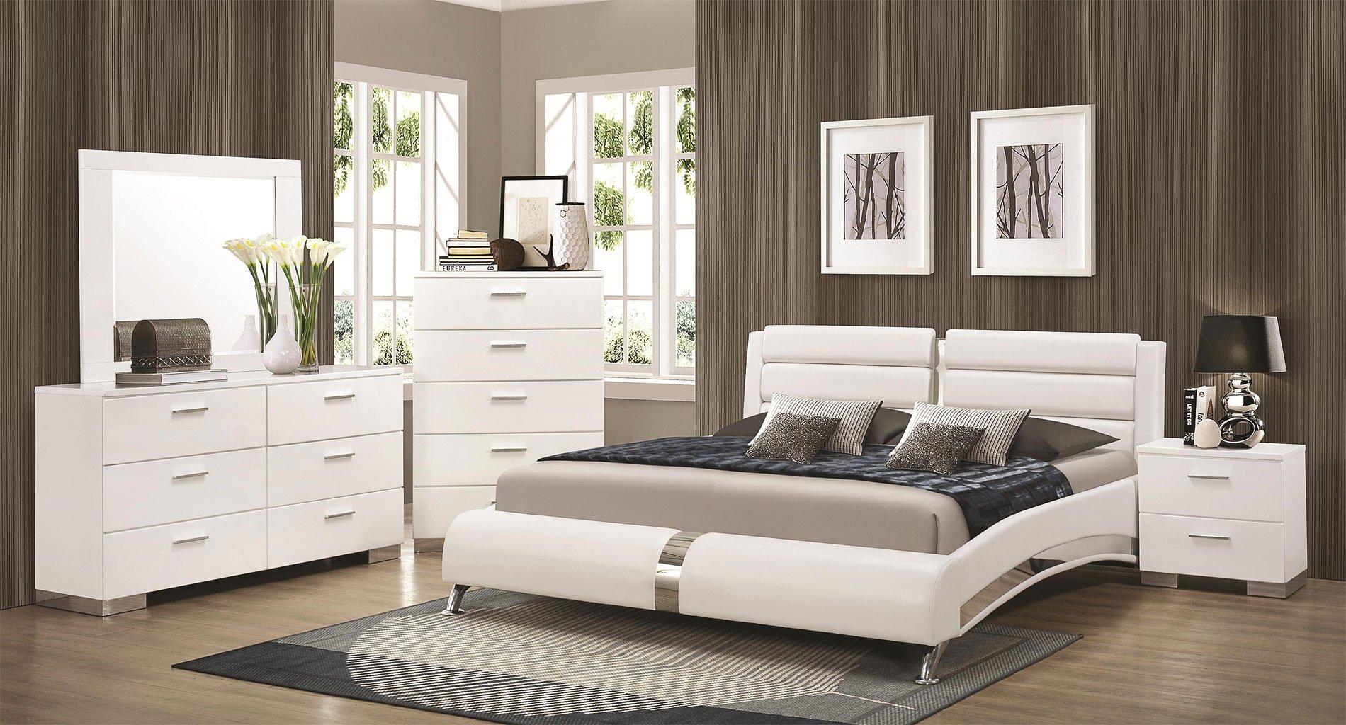 Felicity Bedroom Set w/ Jeremaine Bed (White)