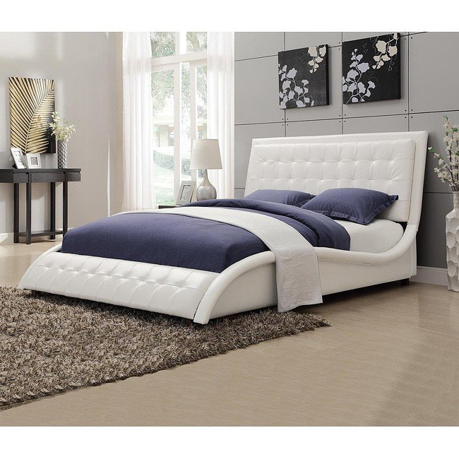 Tully White Upholstered Bed Queen Coaster Furniture 1