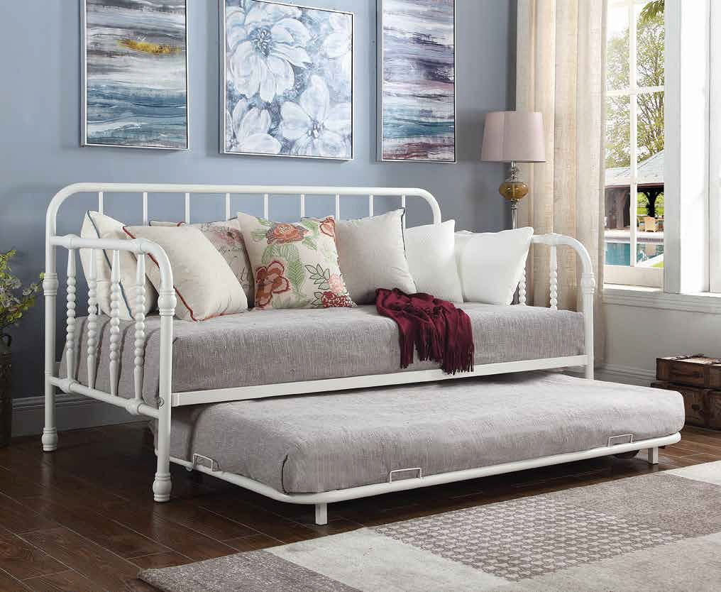 White Twin Metal Daybed W Trundle Coaster Furniture