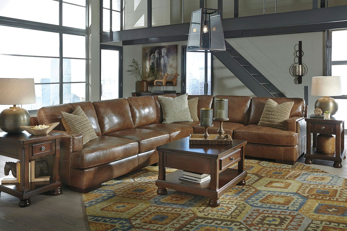Vincenzo Nutmeg Sectional Set Signature Design Furniture