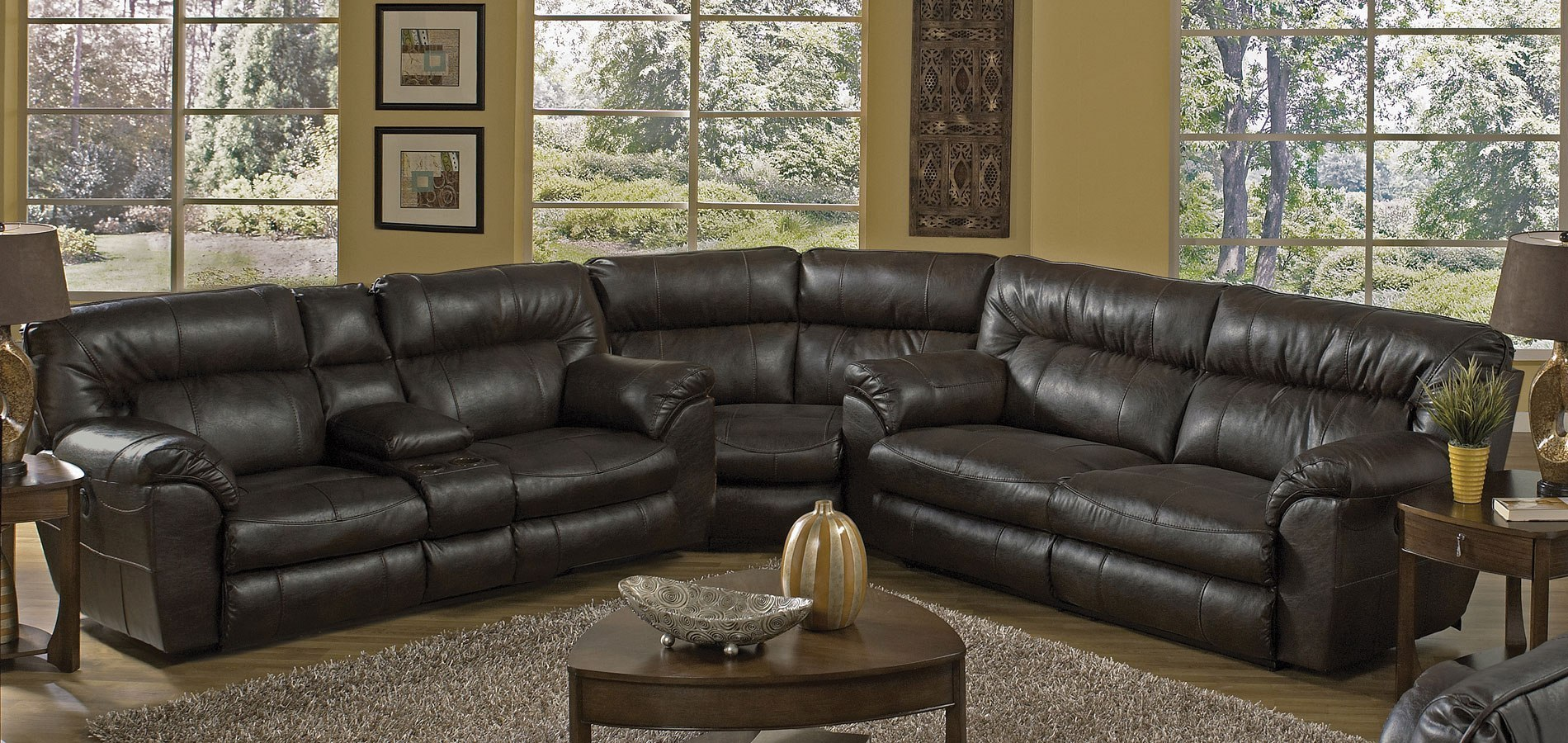 Nolan Extra Wide Reclining Sectional Godiva Catnapper
