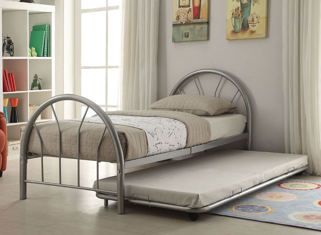 Silhouette twin metal panel bed silver acme furniture furniture cart