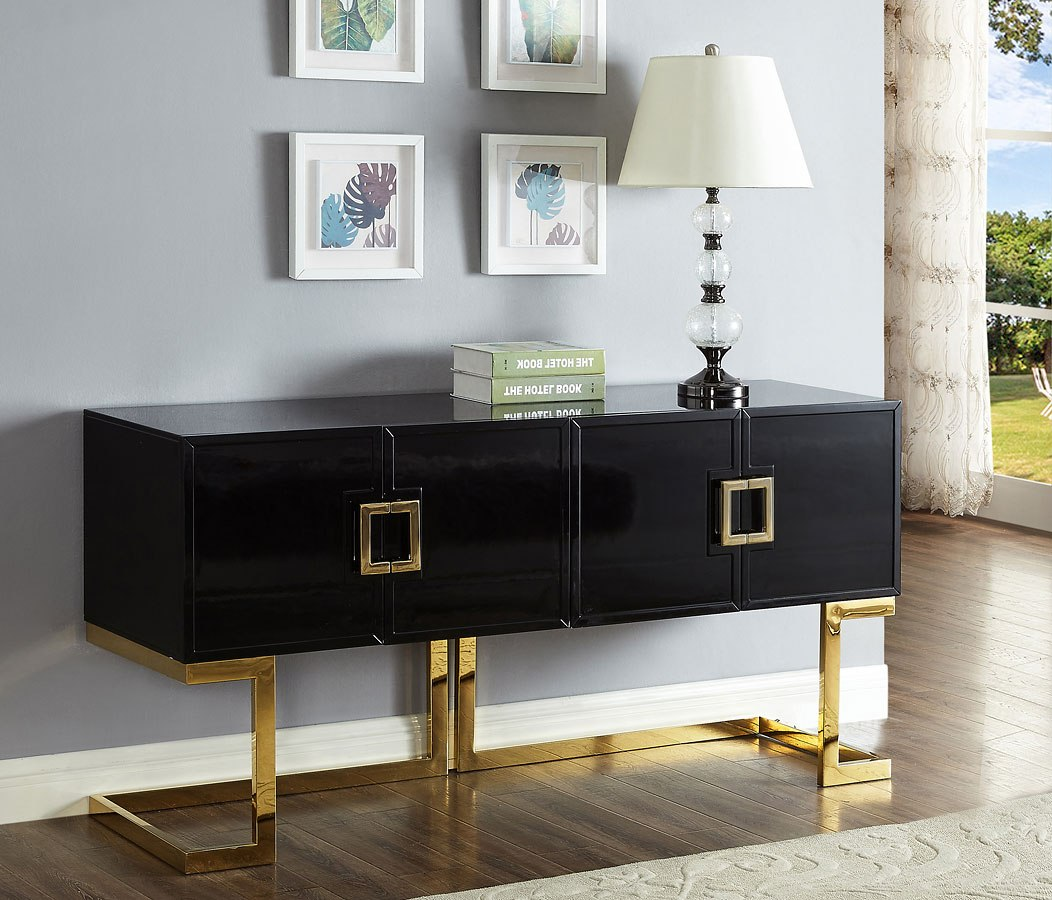Picture of: Beth Sideboard Buffet Black Gold Meridian Furniture Furniture Cart