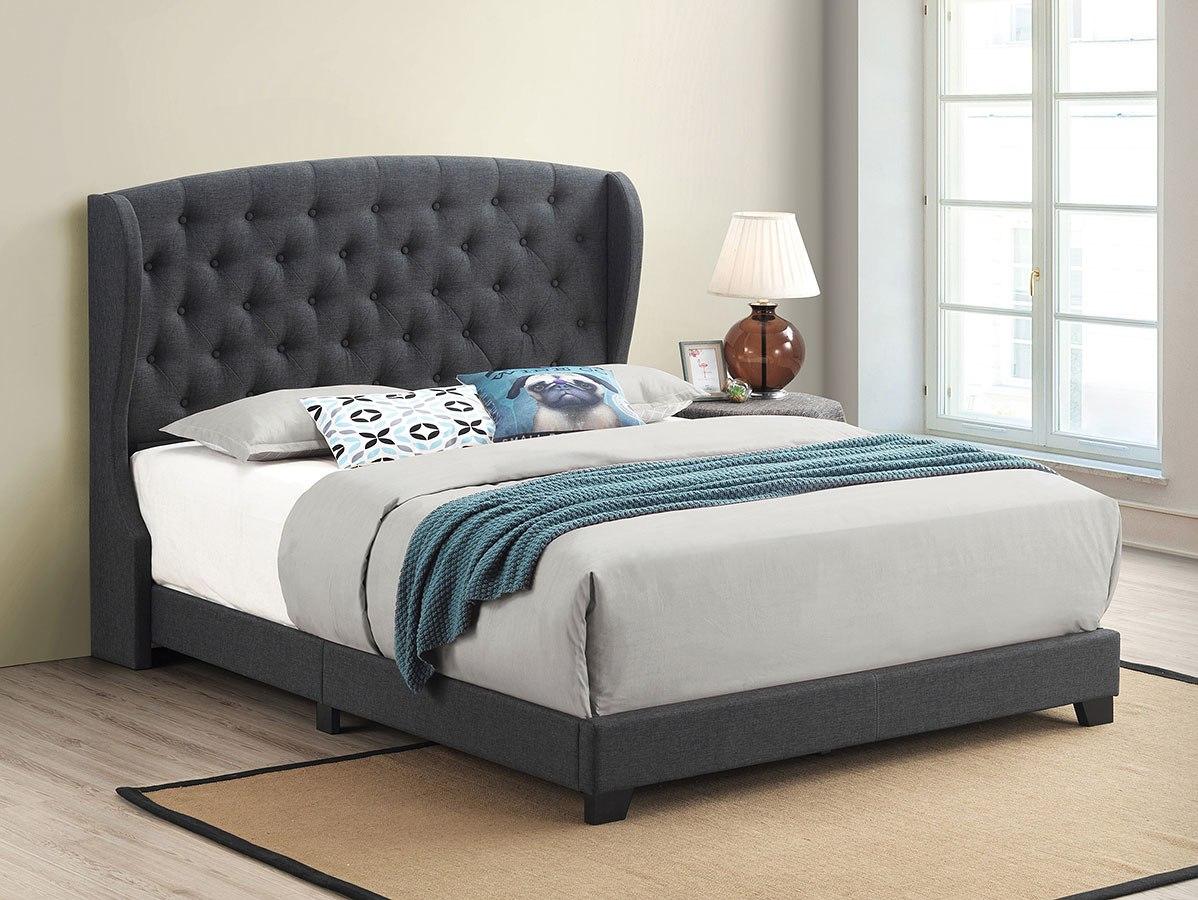 Krome Charcoal Upholstered Bed Coaster Furniture Furniture Cart