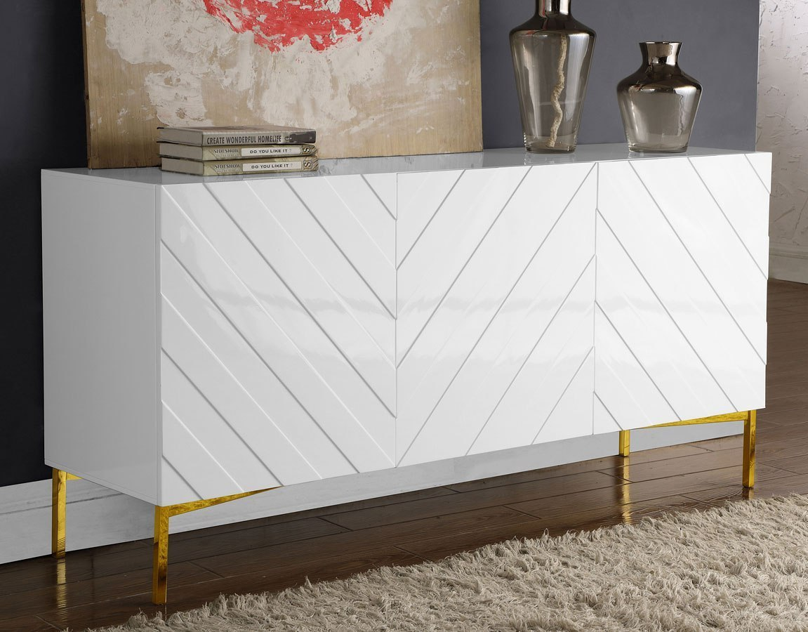 Collette Sideboard Buffet (White Gold) Meridian Furniture Furniture Cart