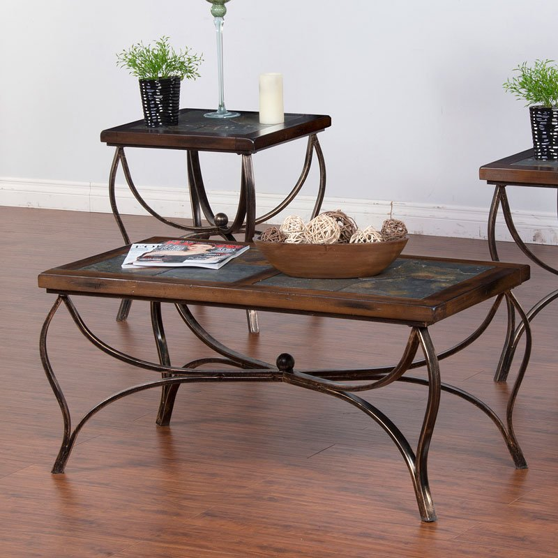 Santa Fe Slate Metal Occasional Table Set Sunny Designs