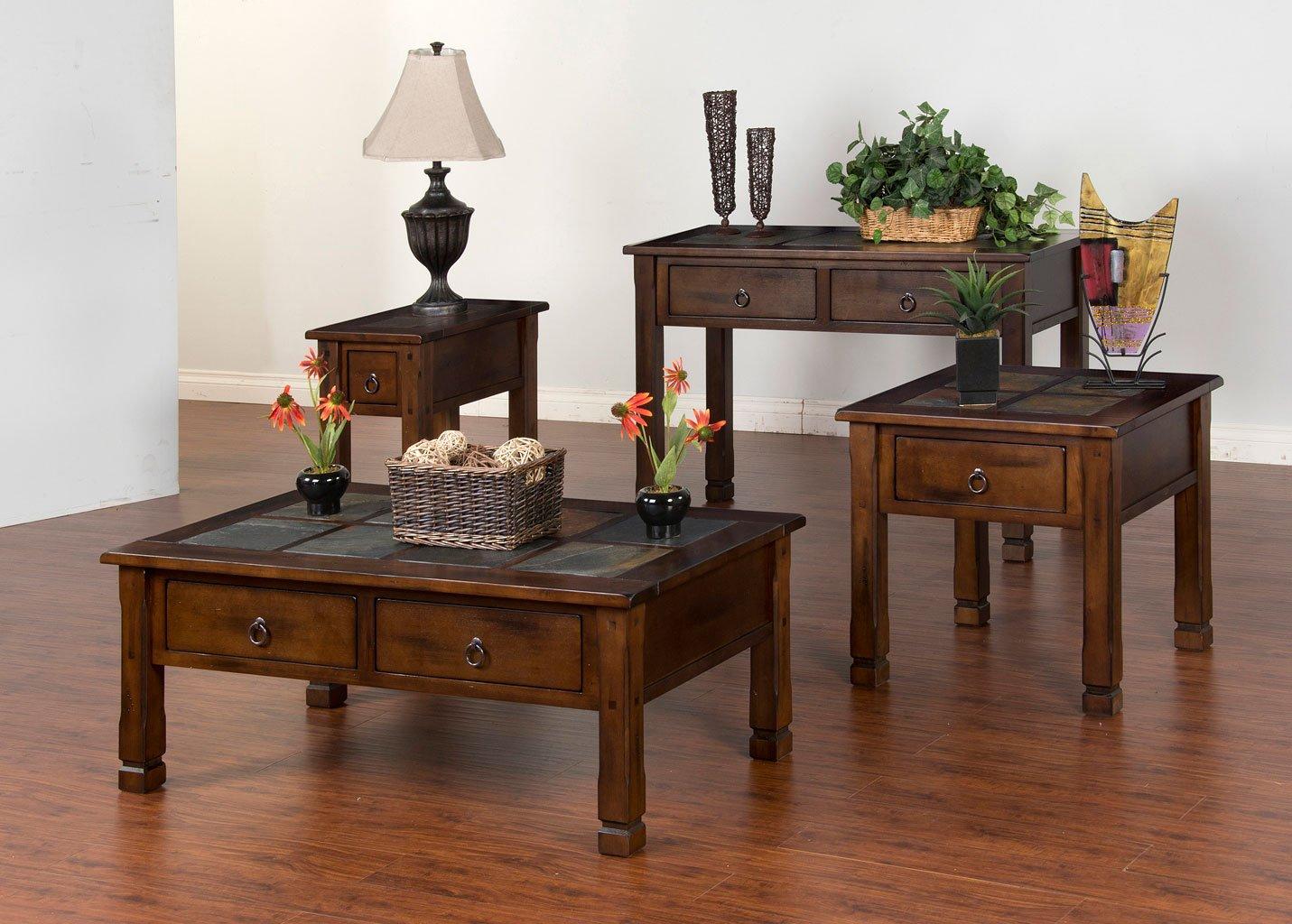 Santa Fe Slate Top Rectangular Occasional Table Set Sunny