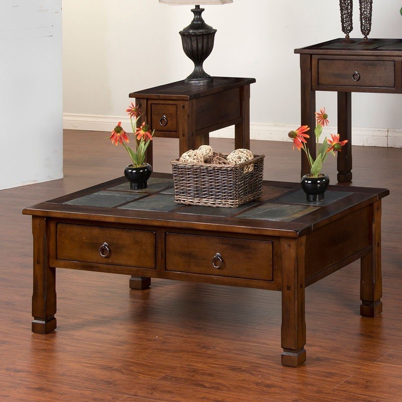 Santa Fe Slate Top Rectangular Coffee Table