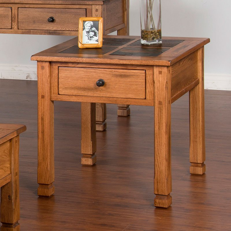Sedona 28 Inch Slate Top End Table Sunny Designs