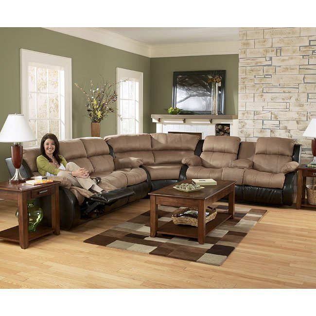 Presley - Cocoa Reclining Sectional Living Room Set