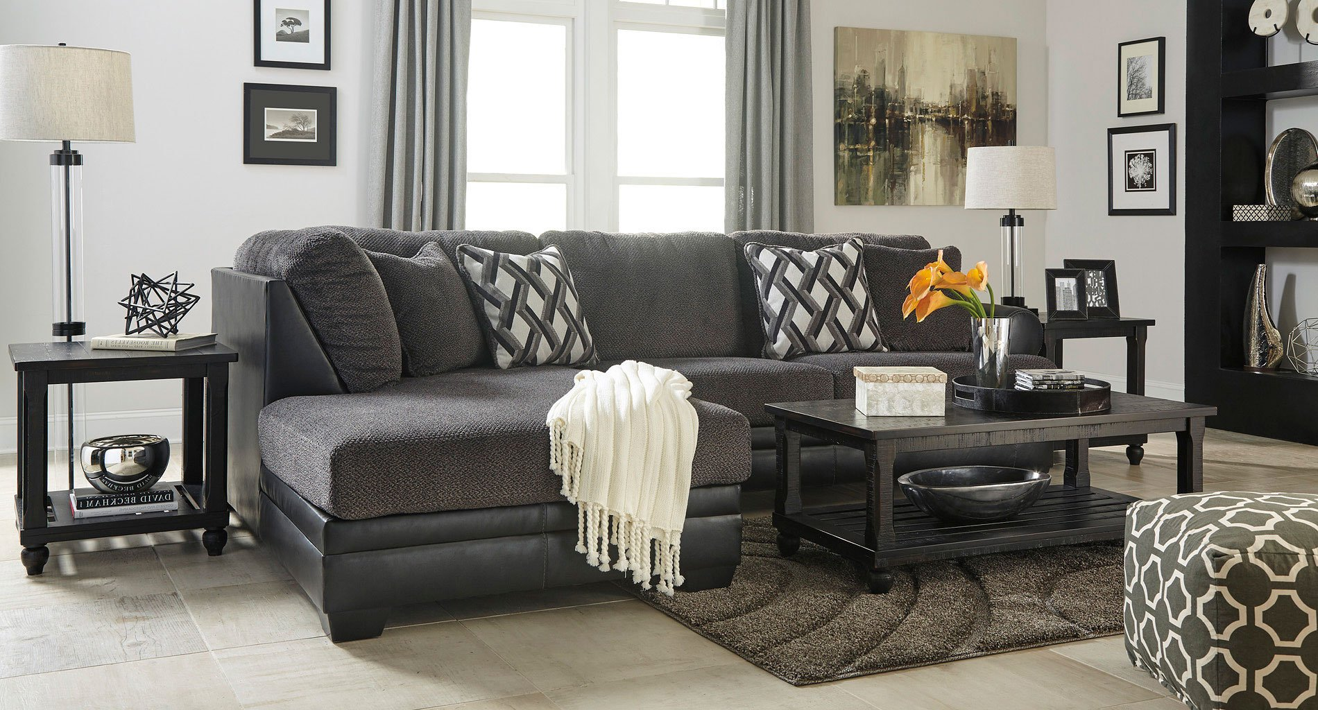 Kumasi Smoke Sectional Set Benchcraft Furniture Cart