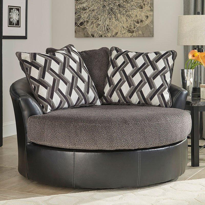 Kumasi Smoke Oversized Swivel Chair Benchcraft Furniture