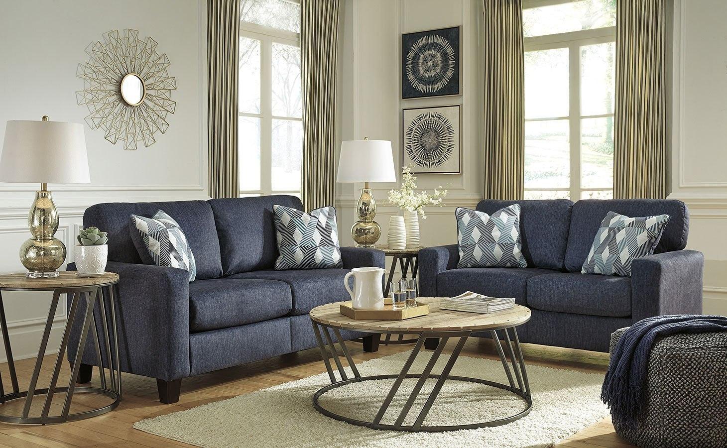 Burgos Navy Living Room Set Signature Design Furniture Cart
