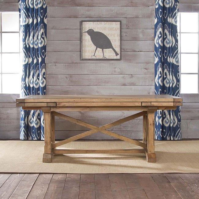 Homecoming Refectory Trestle Dining Table Vintage Pine
