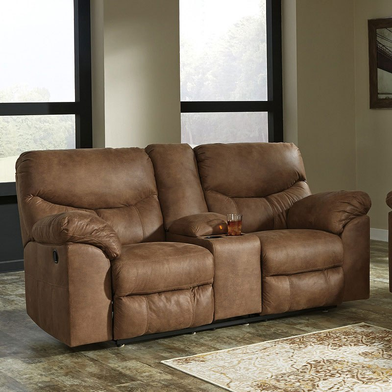 Boxberg Bark Reclining Loveseat W Console Signature Design