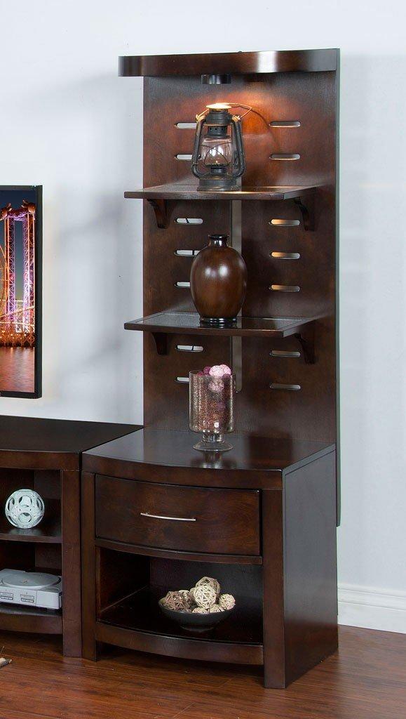 Espresso Pier W Glass Shelves Sunny Designs Furniture Cart