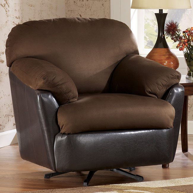 Solara - Espresso Swivel Rocking Chair