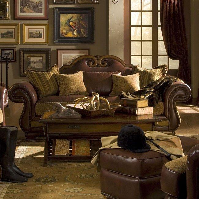 Tuscano Leather/ Fabric Sofa (Spice)