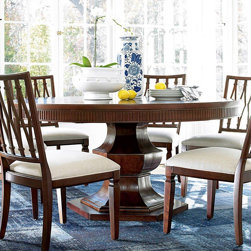 Silhouette Round Dining Room Set W/ Harlequin Chairs