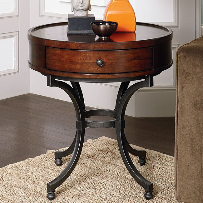 Barrow Round End Table Hammary Furniture Cart