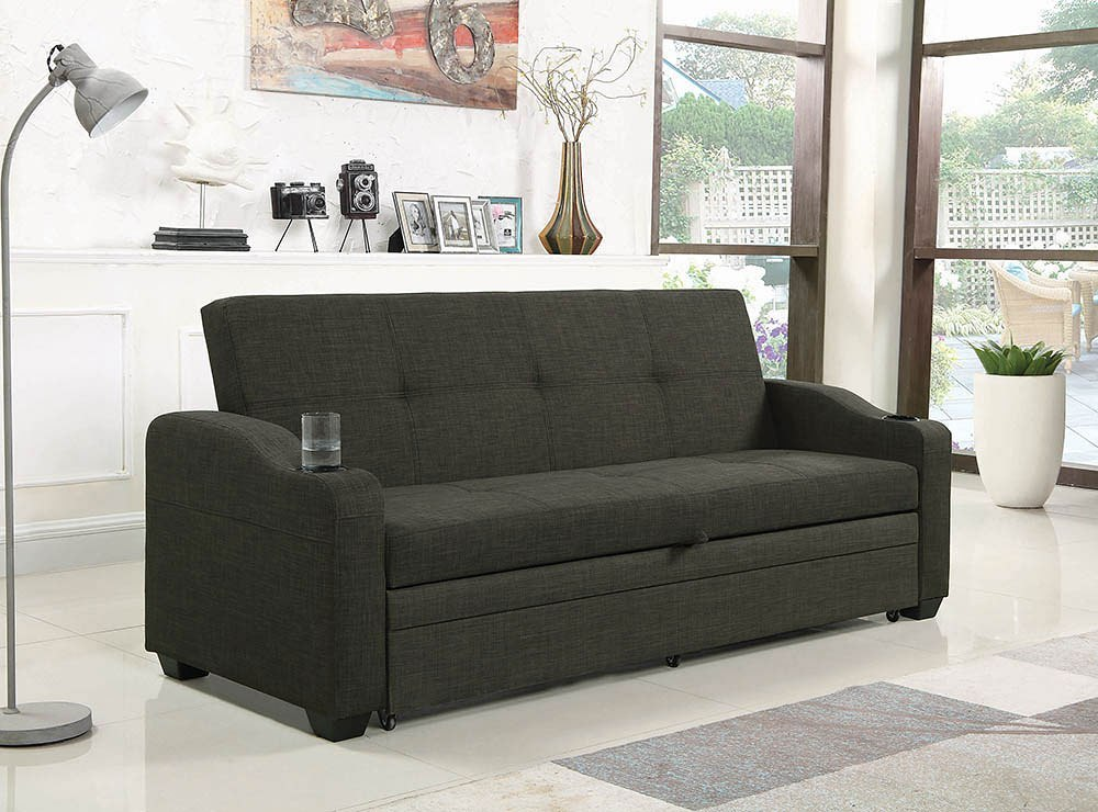 Charcoal Grey Sofa Bed W/ Pull-Out Sleeper Coaster