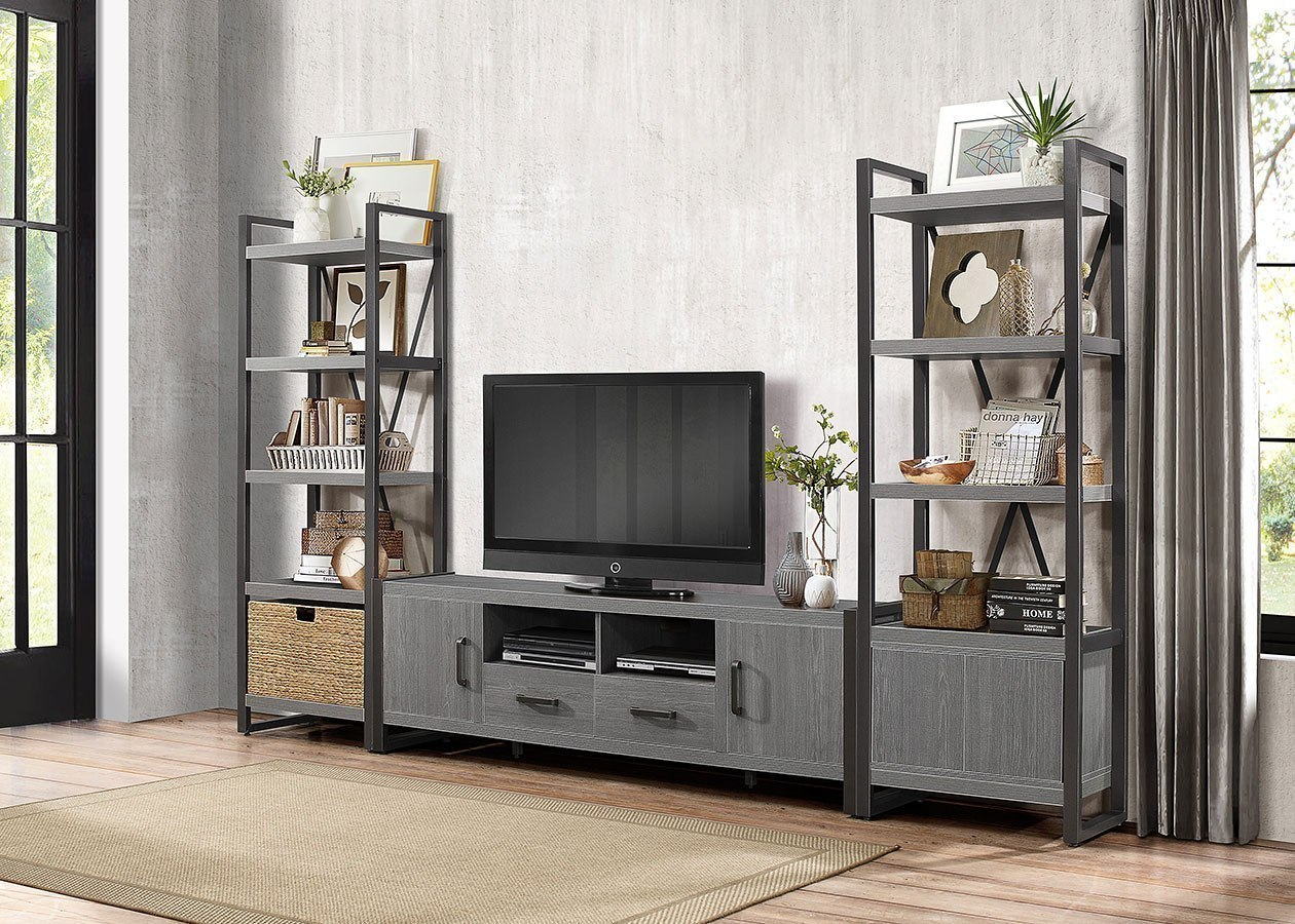 Dogue Large Entertainment Wall W 5 Shelf Bookcases And 76 Inch Tv Stand