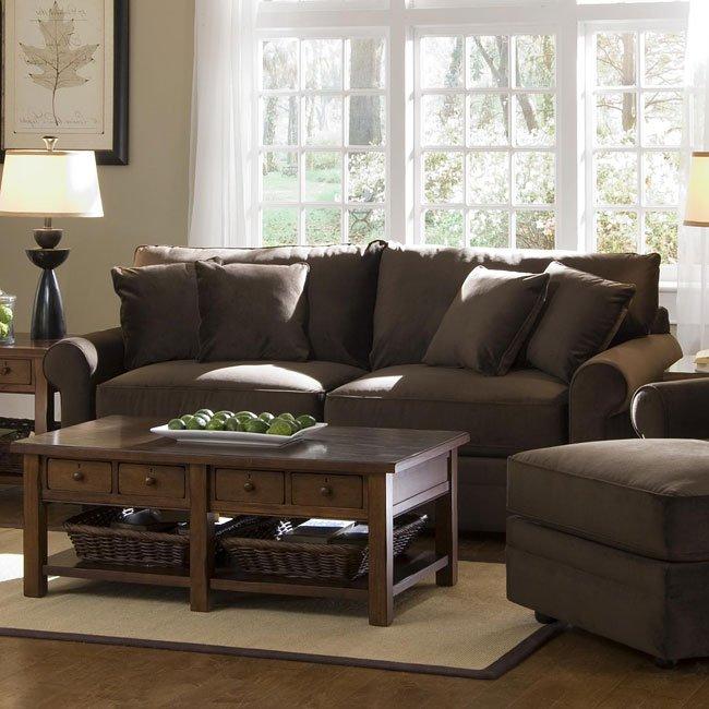 Comfy Living Room Set Belsire Chocolate Klaussner