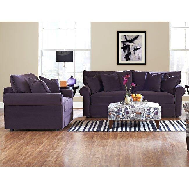 Comfy Living Room Set Belsire Purple Klaussner