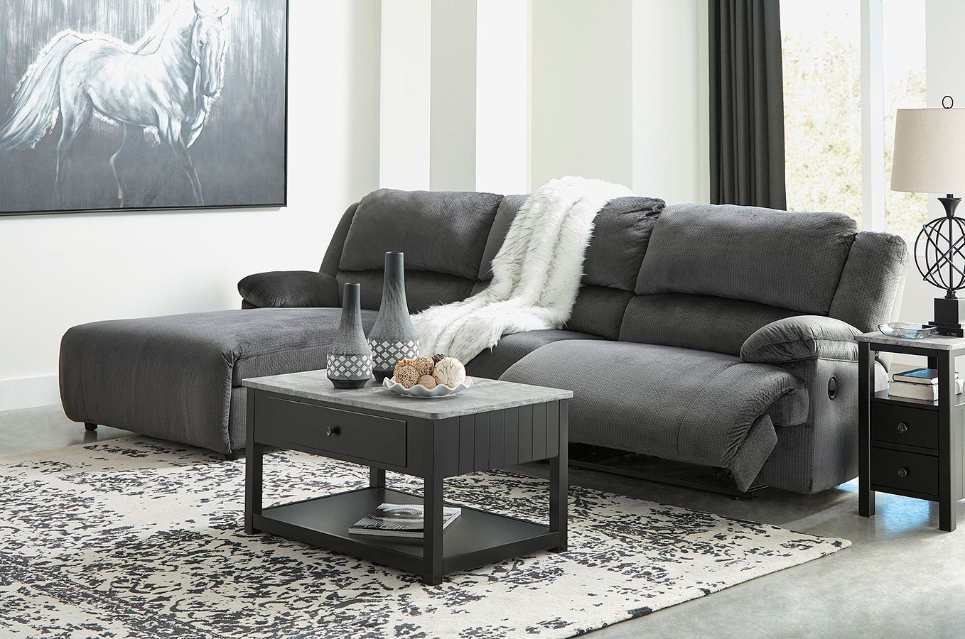 Clonmel Charcoal Small Modular Reclining Sectional
