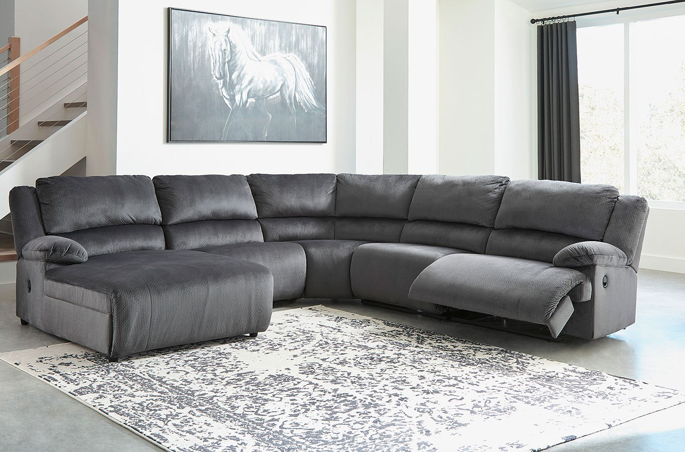 Clonmel Charcoal Modular Reclining Sectional Signature Design Furniture Cart