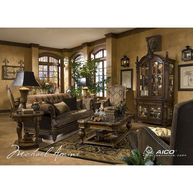 leather and fabric living room sets vizcaya leather fabric living room set aico furniture 25529