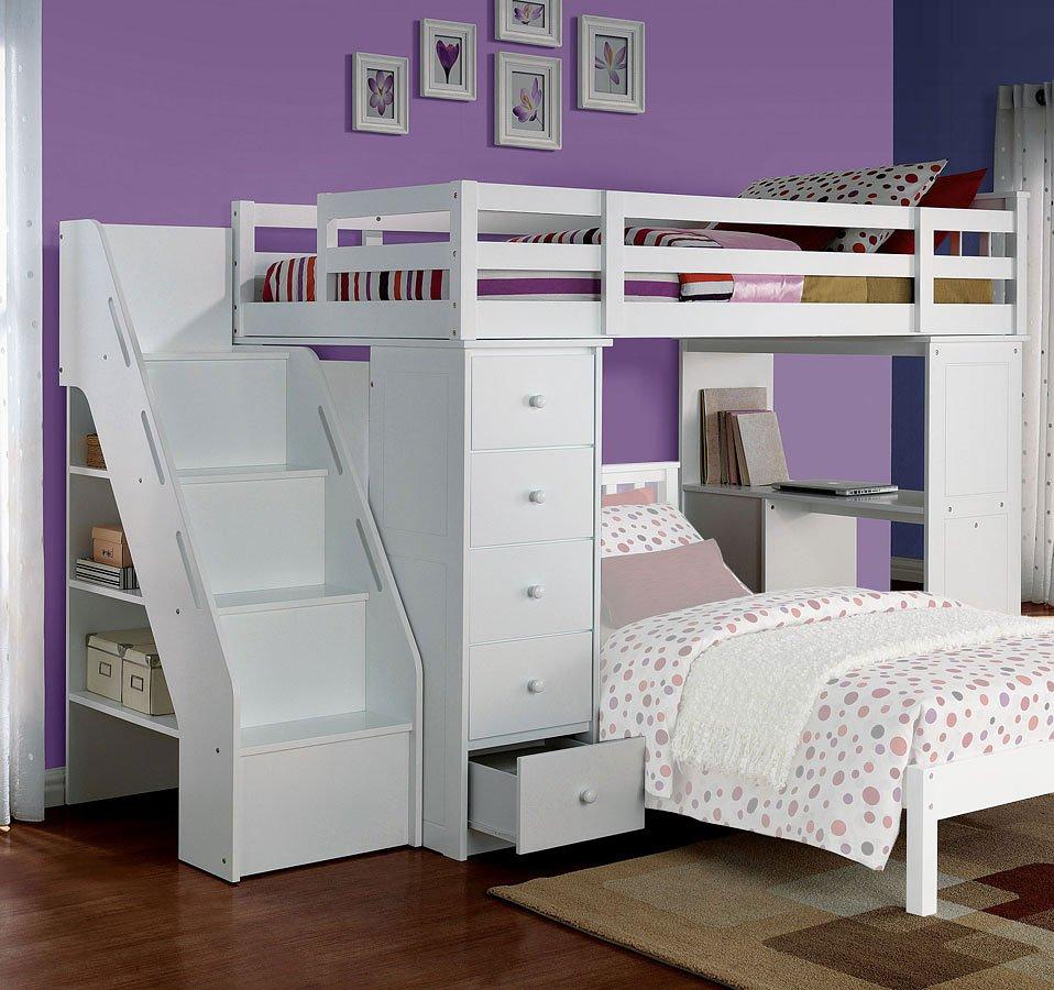 Freya Loft Bed W Bookshelf Ladder Acme Furniture Furniture Cart