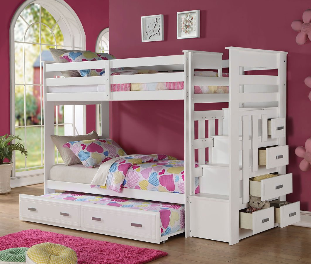 Allentown twin bunk bed w trundle white acme furniture furniture cart White twin trundle bedroom set