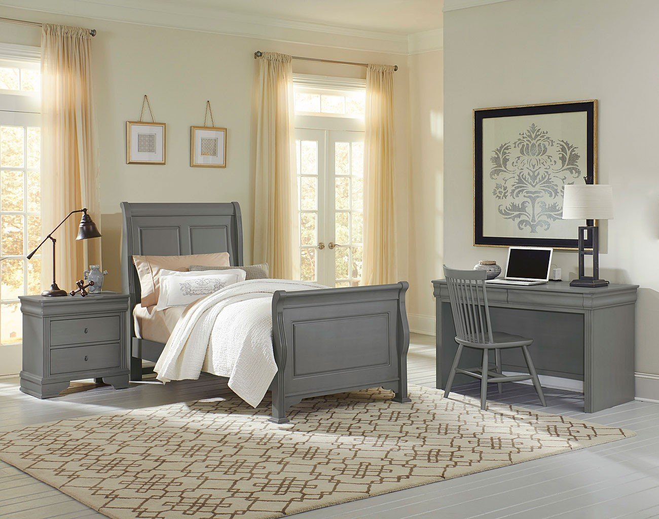 French Market Youth Sleigh Bedroom Set Zinc Vaughan