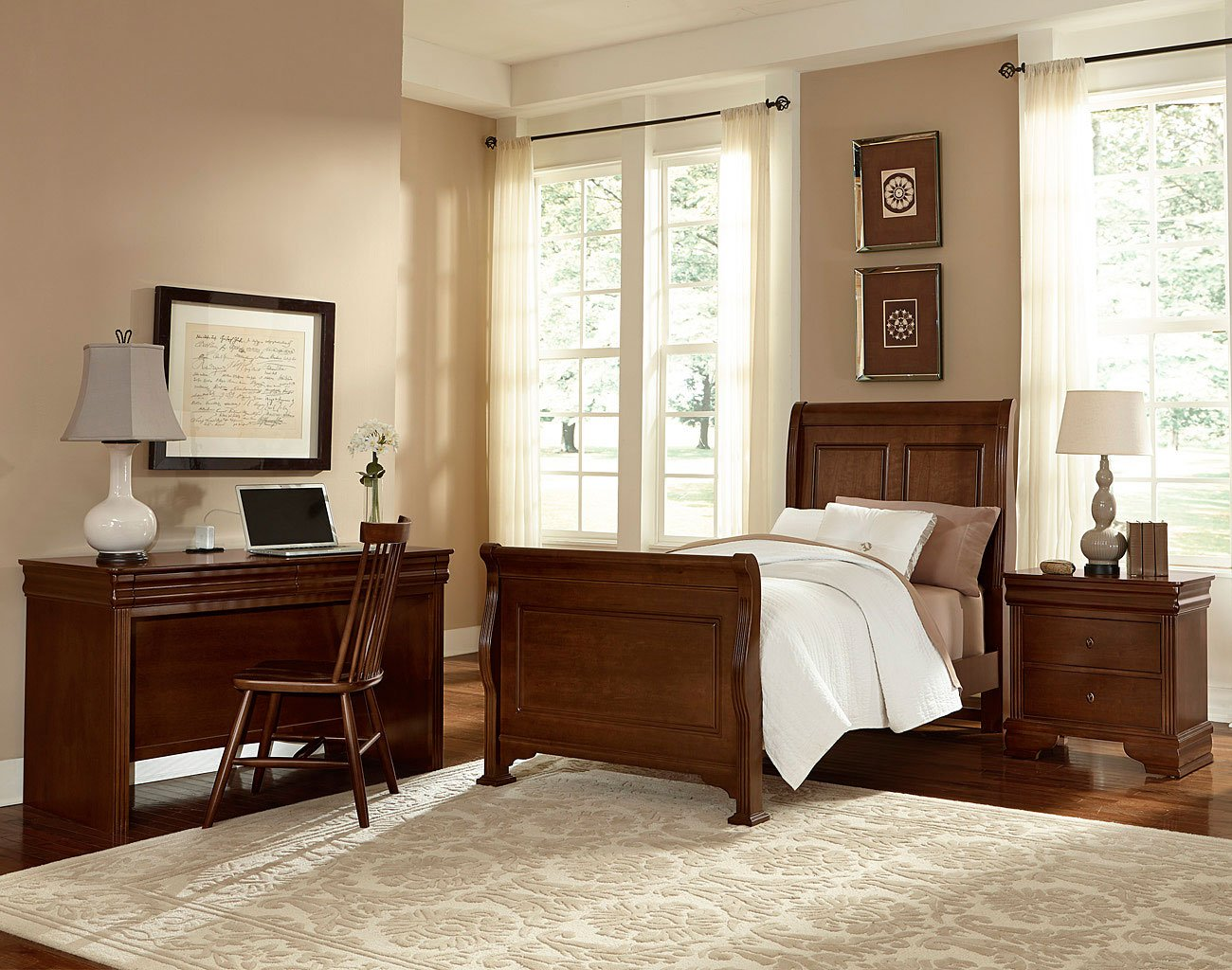 French Market Youth Sleigh Bedroom Set (French Cherry)