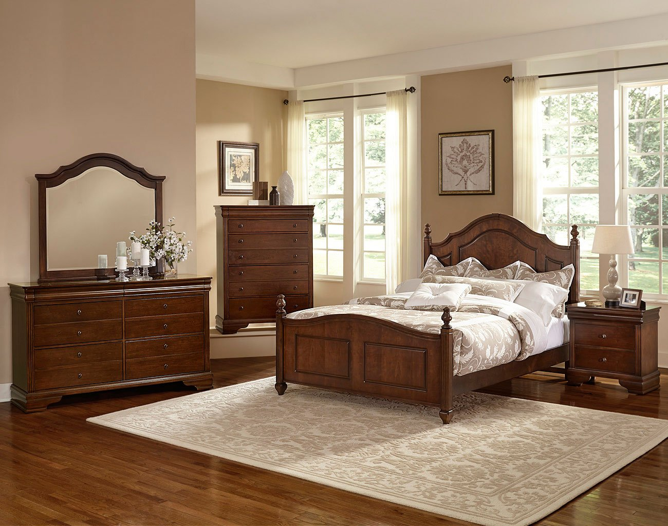 french market poster bedroom set (french cherry) vaughan bassett | furniture cart