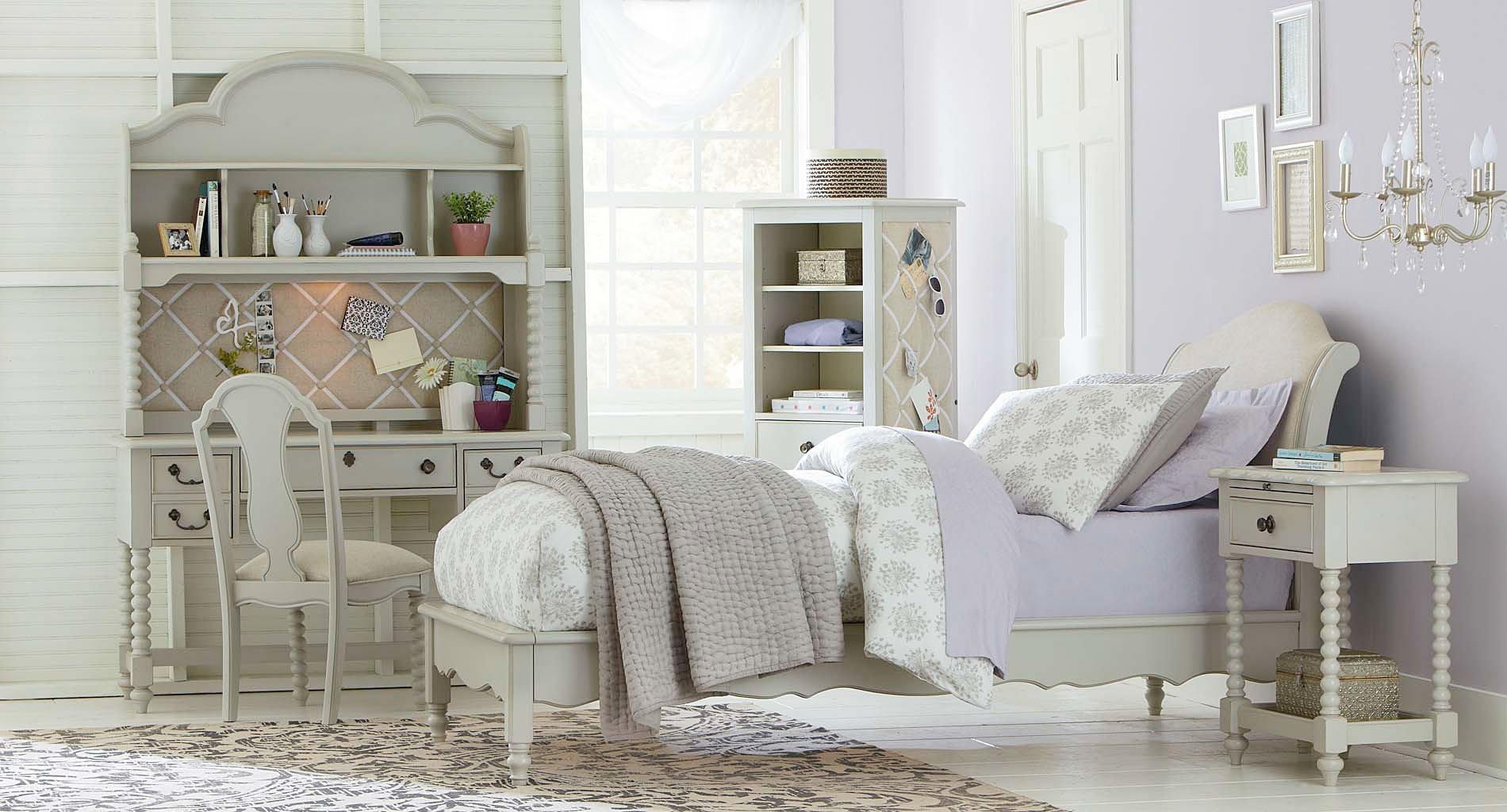 Inspirations Avalon Platform Bedroom Set Mist Gray