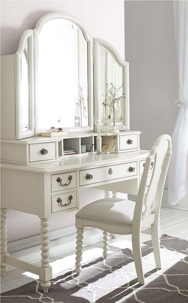 Inspirations Boutique Desk W/ Vanity Mirror (Seashell