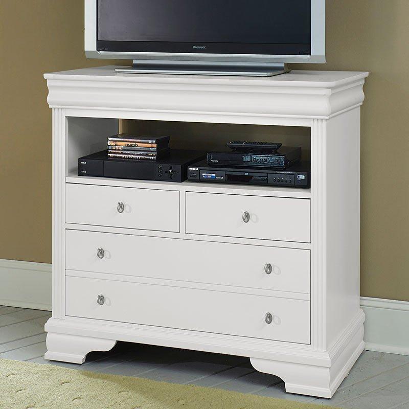 French market media chest white vaughan bassett furniture cart for White media chest for bedroom