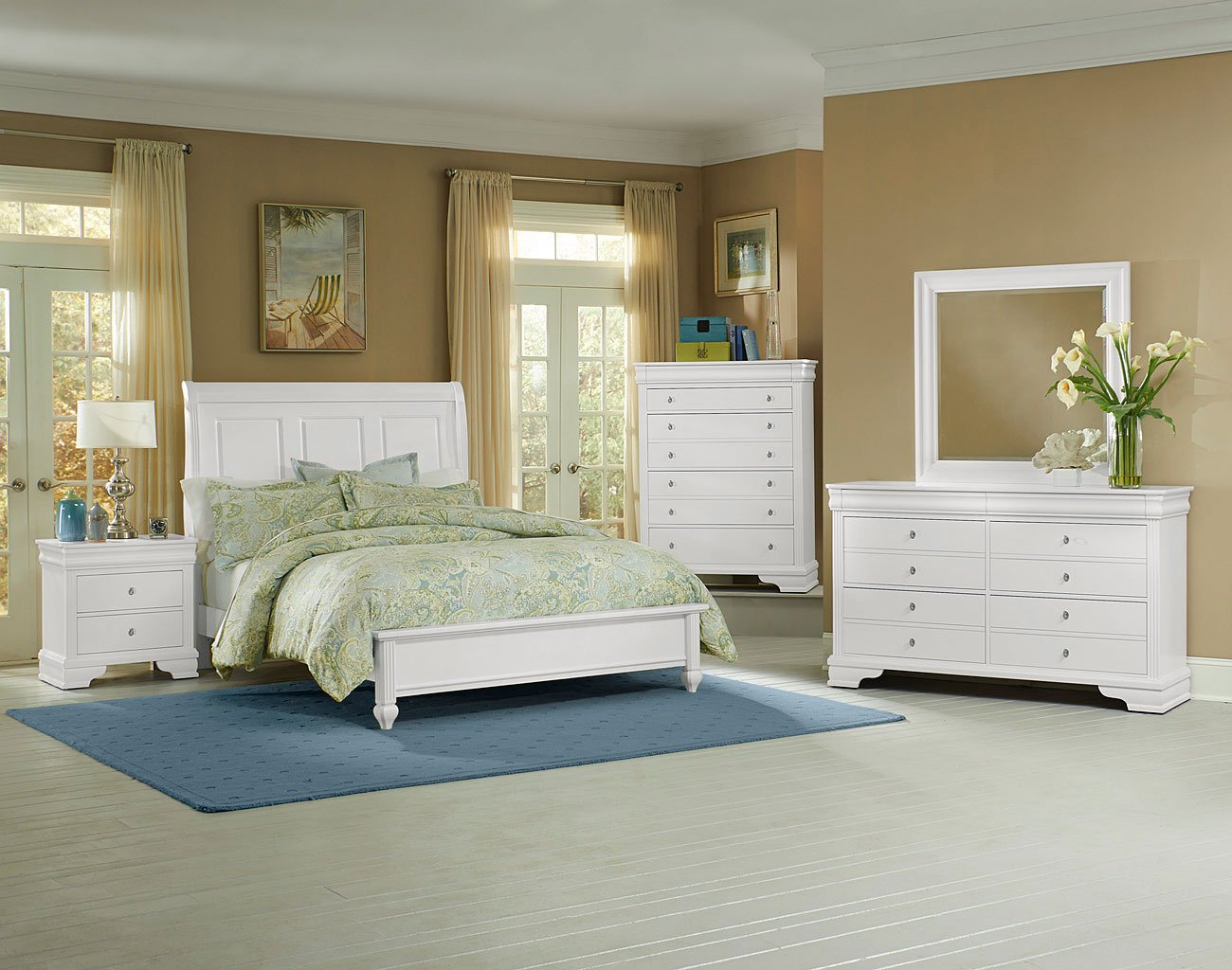 French Market Low Profile Bedroom Set (White)