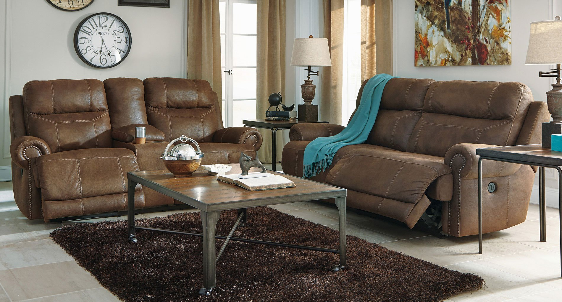 Austere Brown Power Reclining Living Room Set Signature