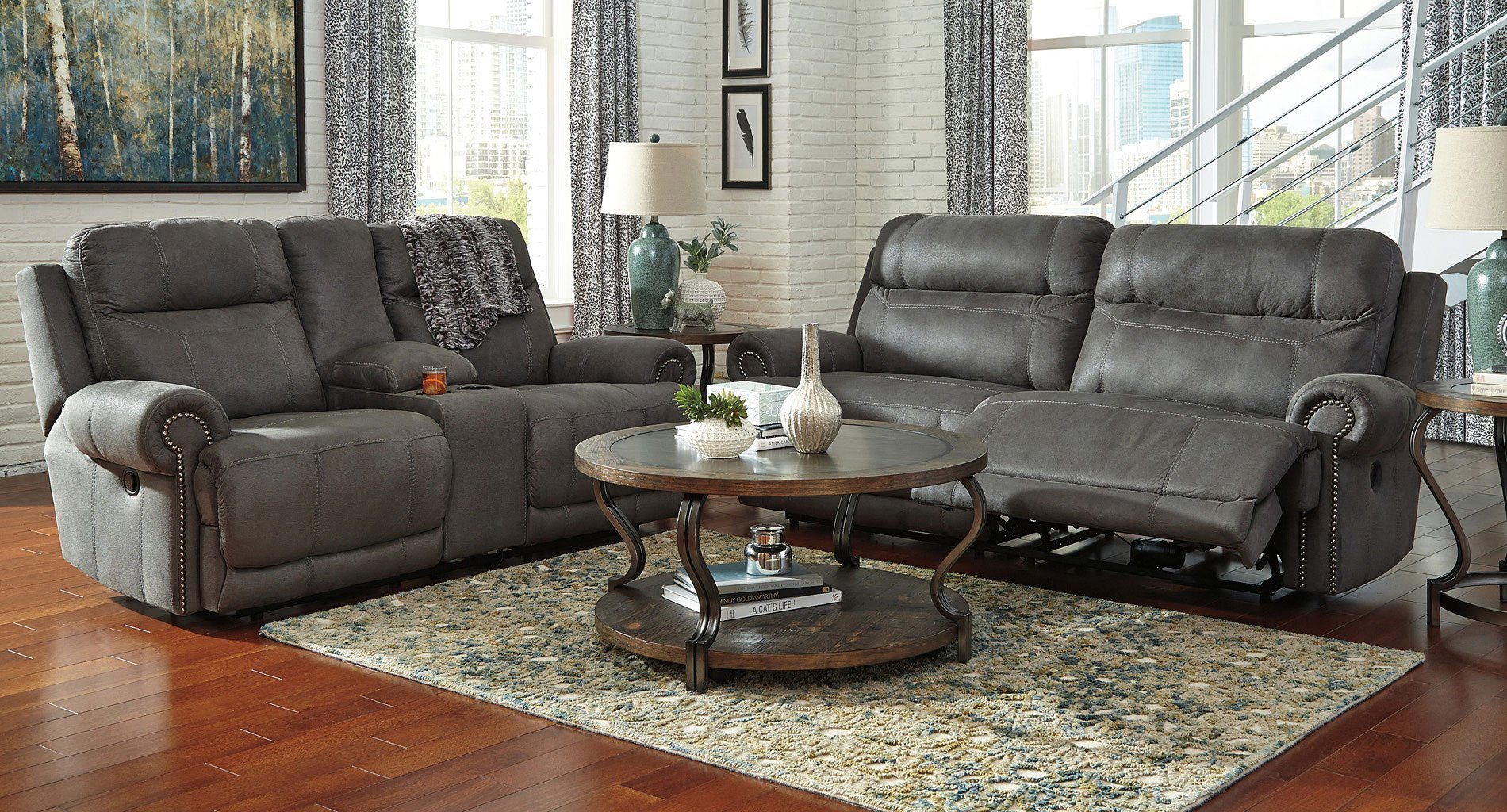 Austere Gray Power Reclining Living Room Set Signature Design 2
