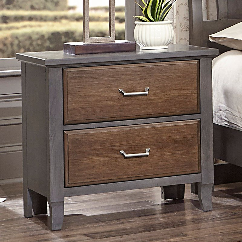 Commentary Nightstand W/ Charging Station (Steel And Oak)