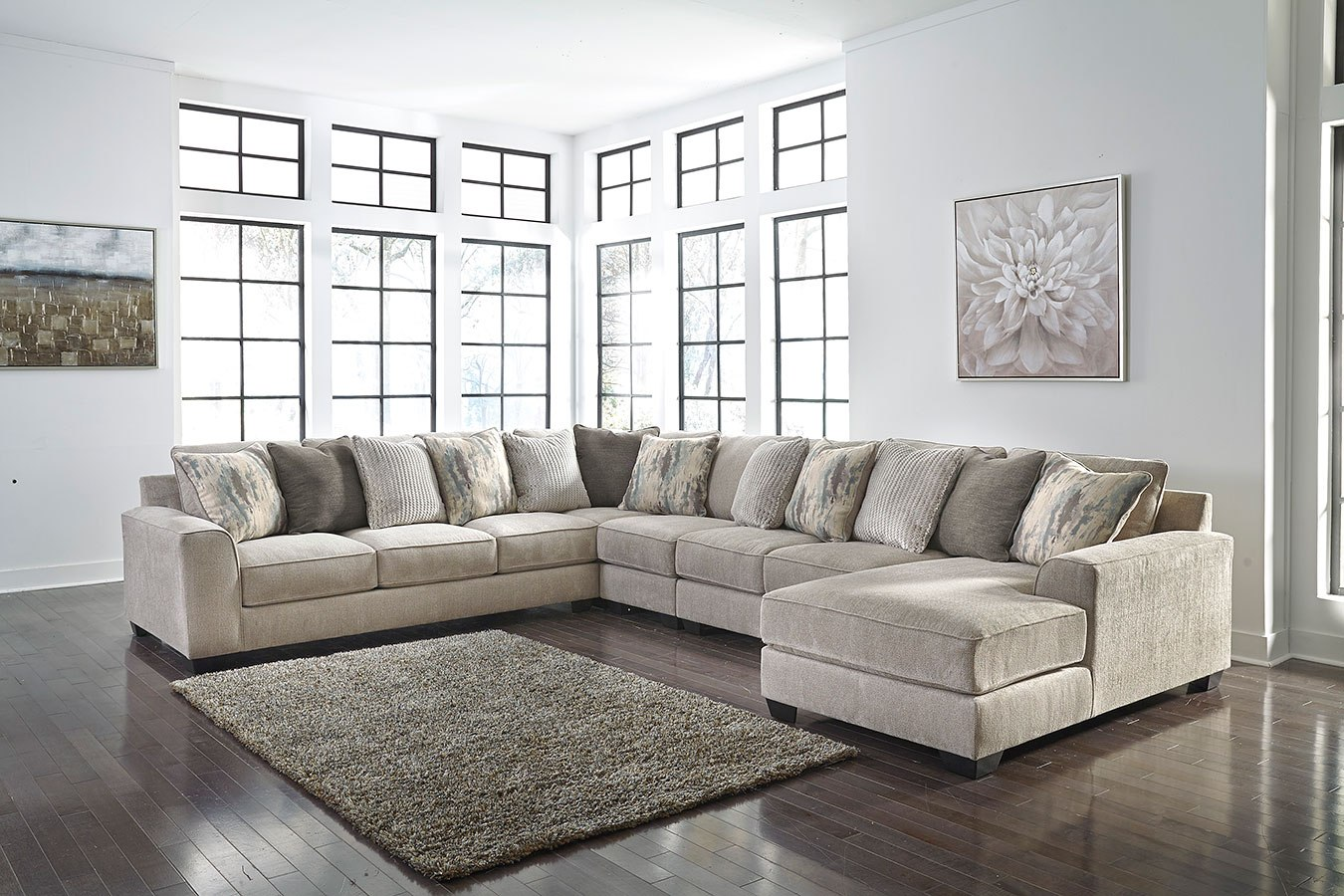 Ardsley Pewter Large Modular Sectional Signature Design By