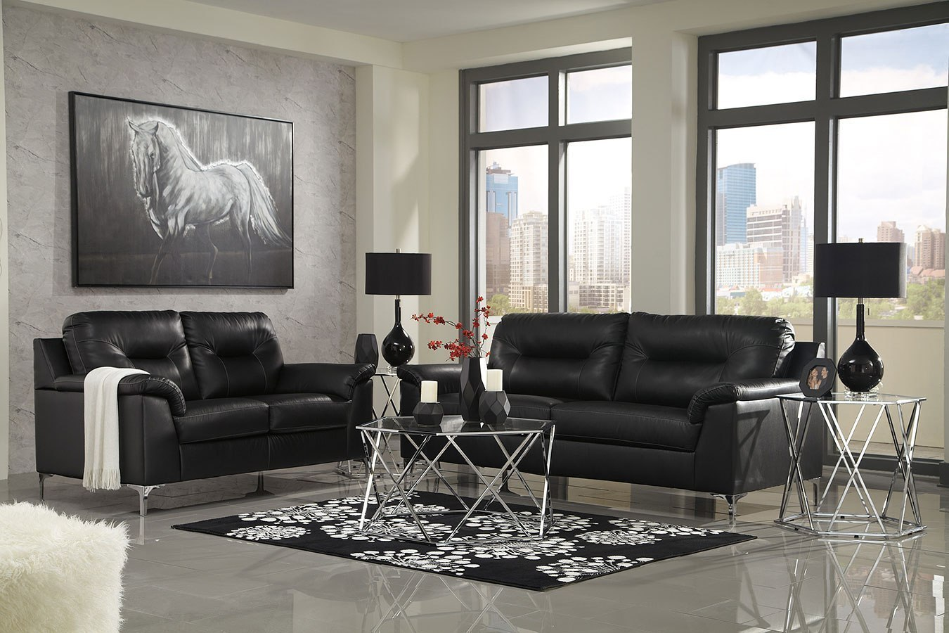 Tensas Black Living Room Set Signature Design | Furniture Cart