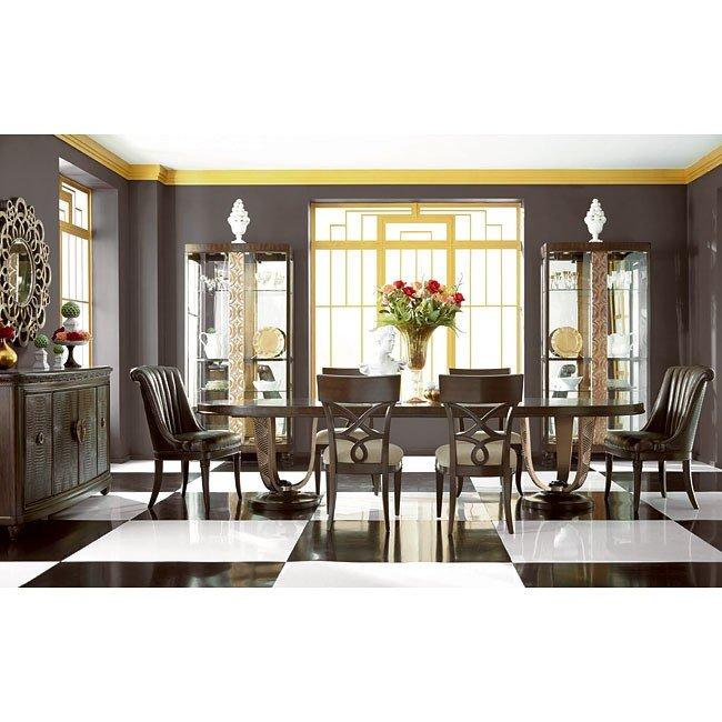 Bob Mackie Home Oval Dining Room Set W/ Splat Chairs