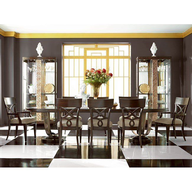 bobs furniture dining room   Bob Mackie Home Oval Dining Room Set W/ Splat Chairs ...